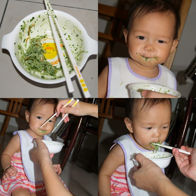 Zaria having spinach noodle