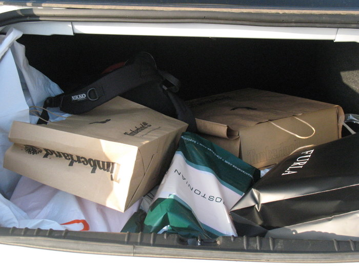 Shopping bags in our trunk