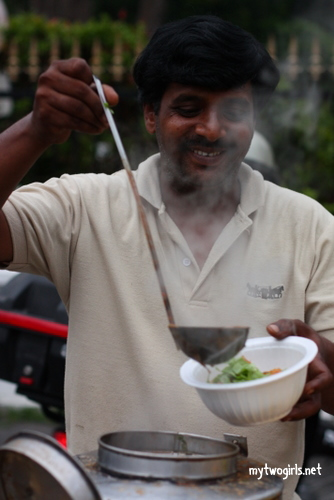 Asam Laksa fushion food seller at the Penang Botanical Gardens