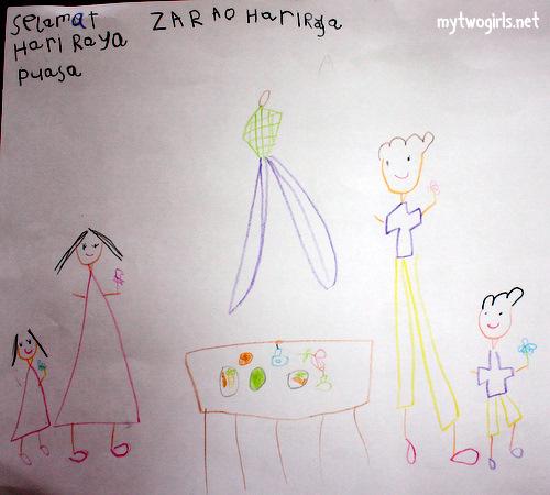 Zara's Hari Raya drawing