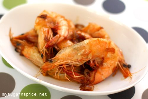 Rum Infused Prawns with Caramelised Onion