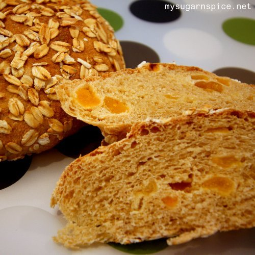 slices of apricot and oat bread