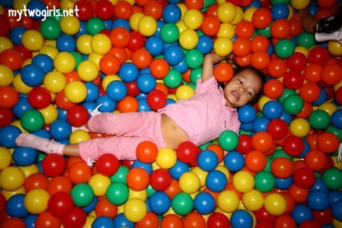 Zaria in pools of balls