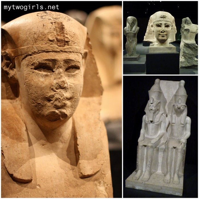 Egyptian sphinx and others on display