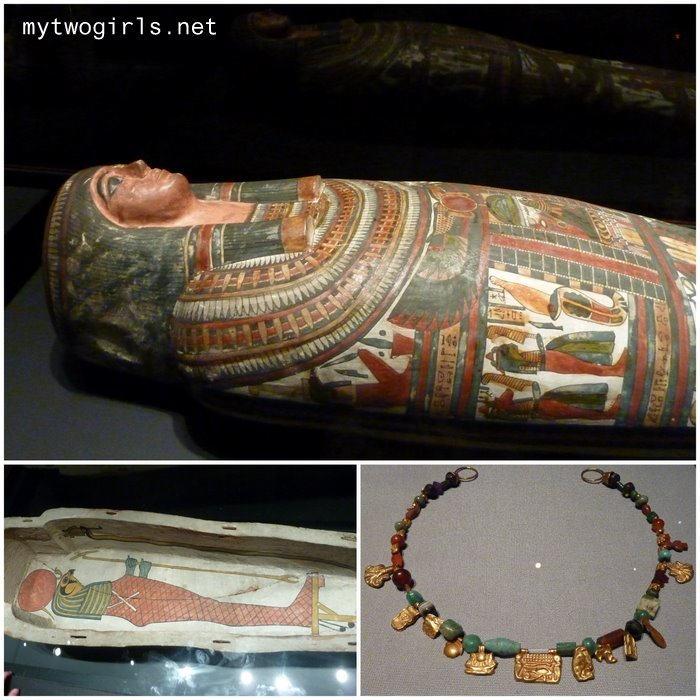 Egyptian coffins and jewelry on display