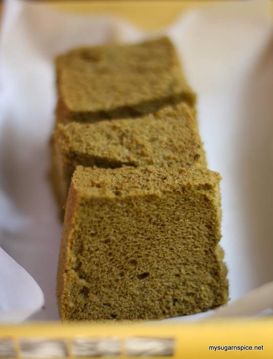 Green tea chiffon cake, packed for neighbour