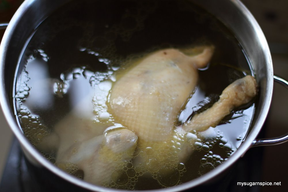 Chicken in boiled water