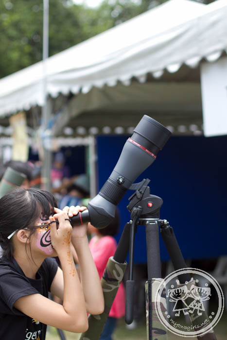 Girl watching on monocular
