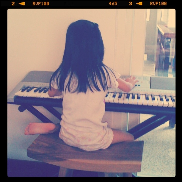 Zaria at the keyboard