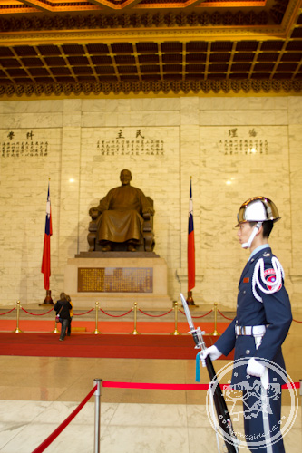 Guard inside the Memorial Hall
