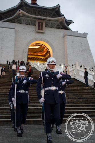 Guard leaving the Memorial Hall