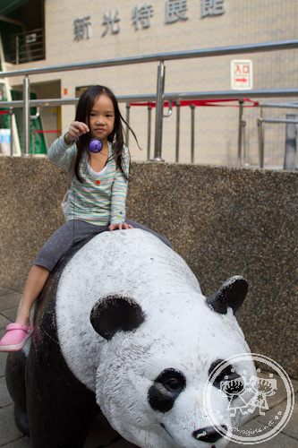 Zaria on a giant panda