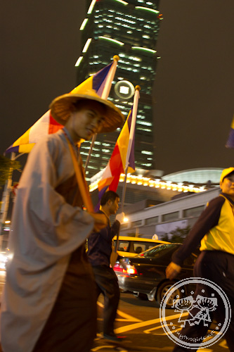 Buddhist monk procession in Taipei, near Taipei 101