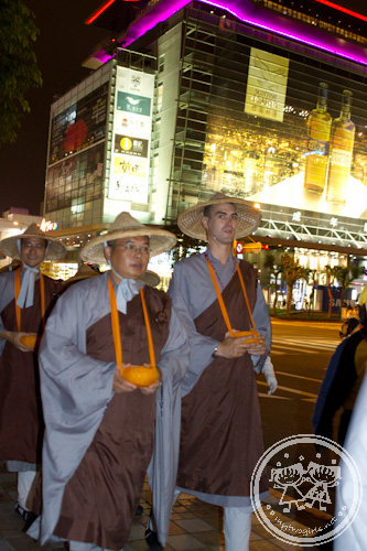 Buddhist monk procession in Taipei