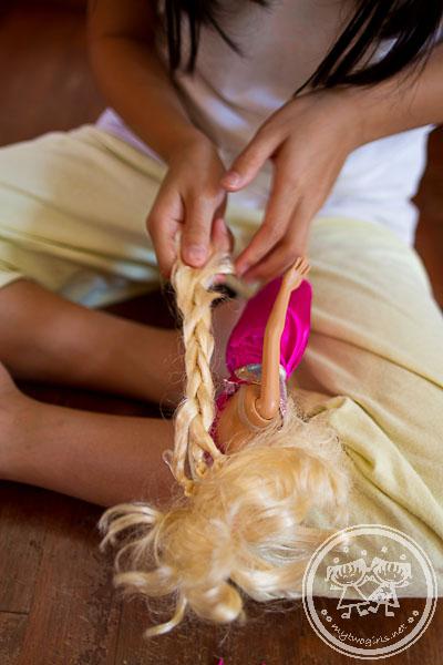 Pleating Barbie's hair
