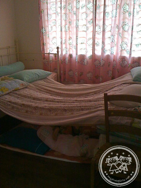 Girls built tent in room