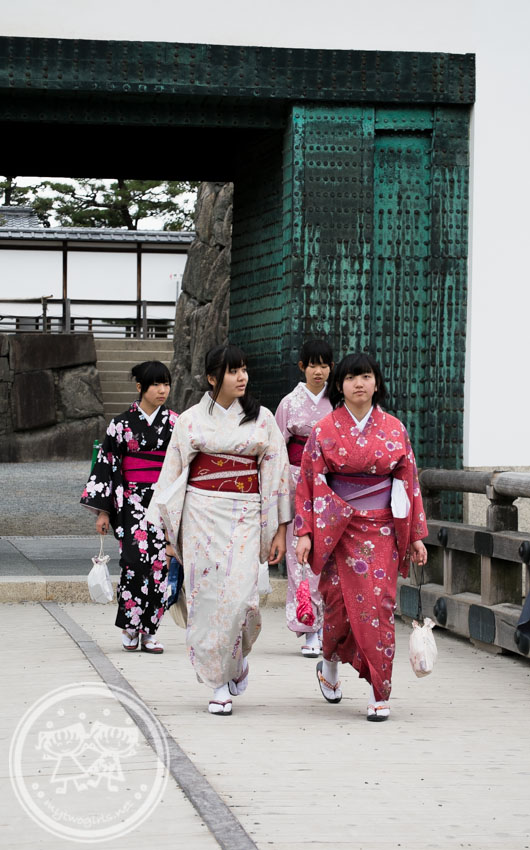 Girls in Kimono at Nijo Castle