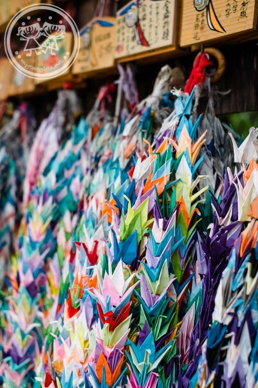 Origami cranes hung at Fushimi Inari Shrine