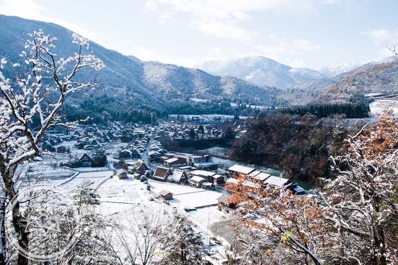 Snow covered Ogimachi Village Shirakawa-go