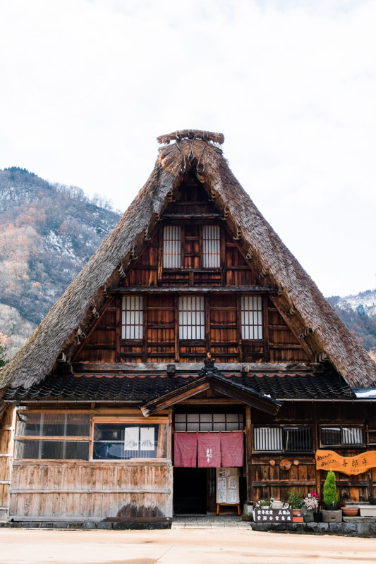 Gassho-zukuri farm house turned restaurant at Gokayama