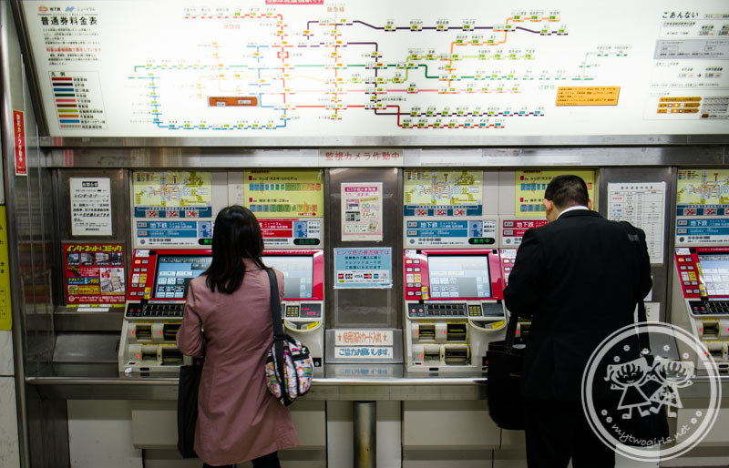 Buying ticket at Osaka Station
