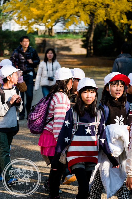 School children at Osaka Castle Park