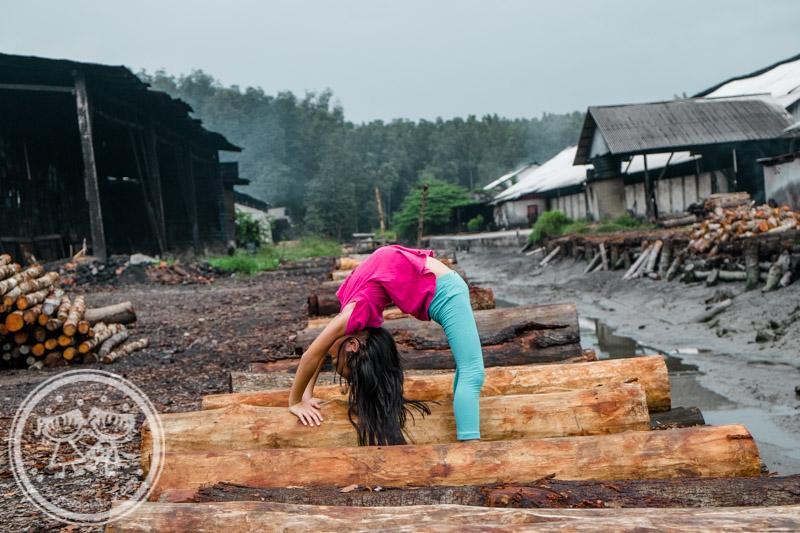 """Zaria doing a bridge at Kuala Sepetang Charcoal Factory"""" title="""